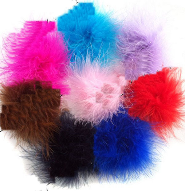 5mix color fashion curl ostrich puff feather bows baby hair/kids hair band/fashion elastic headbands - Beautiful bride store