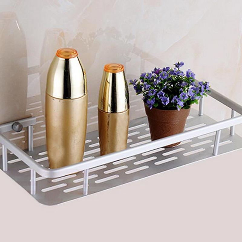 Bathroom Shelf Bath Shampoo Rack Towel Basket Wall Mounted Bathroom ...