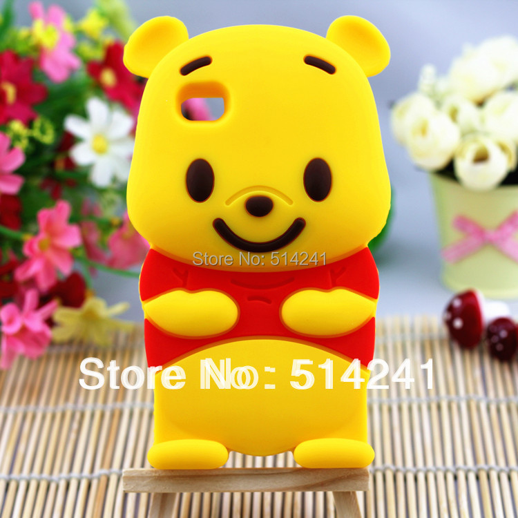 Hot 3D Winnie Bear Soft Silicone skin Case for Apple iPhone 4 4S back cover Free shipping(China (Mainland))
