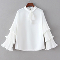 Women Spring White Chiffon Blouses Vintage Long Tiered Flare Sleeved Neck Draw String Pullover Tops Chiffon