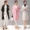 2016 Winter Women Woolen Coat Slim Lapel Pocket Multicolor Plus Size Long Sleeve Ladies Wool warm