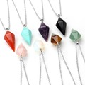 Natural Gem Hexagon Pyramid Reiki Pendulum Stone Pendant Charms Healing Chakra Amulet European Fashionable Jewelry Free