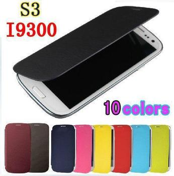 1pcs/lot High Quality Flip PU Leather Back Battery Housing Case Cover for Samsung Galaxy S3 SIII  3 i9300 9300 Mobile Phone Case