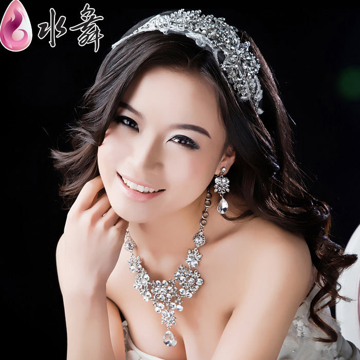 Water Dance lace flowers bridal diamond jewelry wedding necklace three-piece crown headdress accessories my wedding dress<br><br>Aliexpress