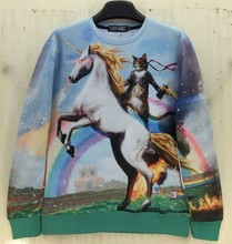 "[Amy] 2014New fashion Women Men space ""Unicorn and Knight Cats"" Print Pullover 3D/Galaxy Sweatshirts Hoodies blouse Tops(China (Mainland))"