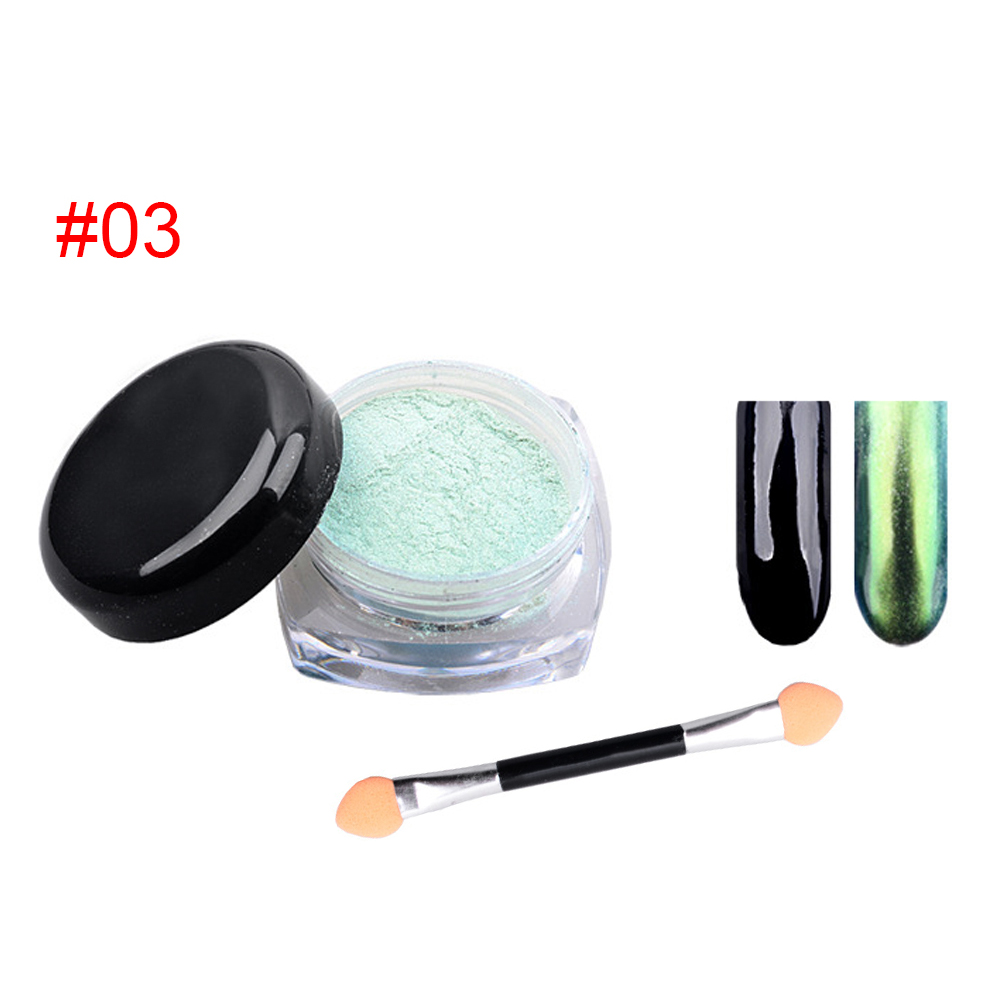 12 Colors Women's Shinning Mirror Nail Glitter Ultrafine Powder Nail Art Decorations Chrome Pigment Nail Sequins with Brush