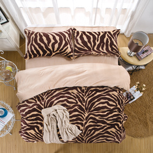 4Pcs Plaid and Zebra Queen Fleece Bedding sets Thicker Winter Comforter cover set Bed sheet Pillowcases(China (Mainland))