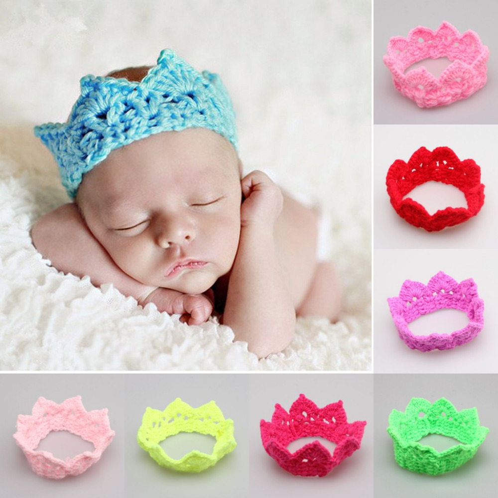 Baby Infant Headband Crown Knitting Crochet Costume Soft Adorable Clothes Newborns Photography Props Photo Hat Cap - CM Seedings Jewelry store