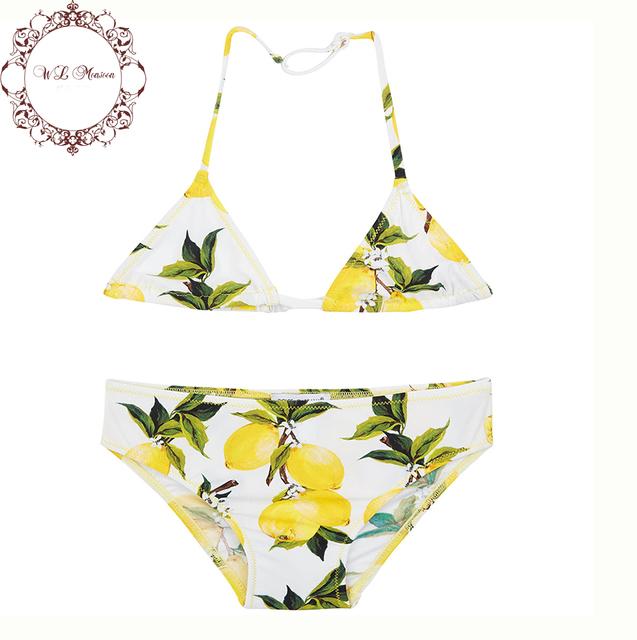 Девушки купальники 2016 летние бренда девушки бикини дети купальник сицилийской лимон малышей купальники девушка из двух частей Biquini Infantil