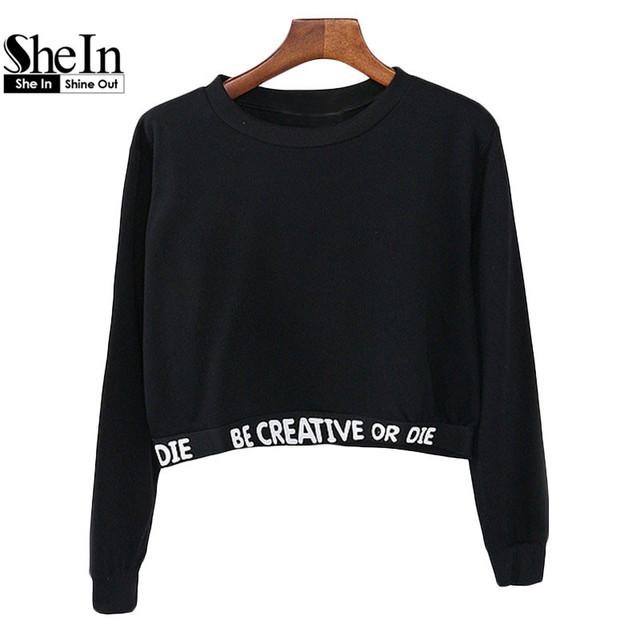 Shein 2016 женщин свободного покроя пуловеры мода топы шею с длинным рукавом черными ...