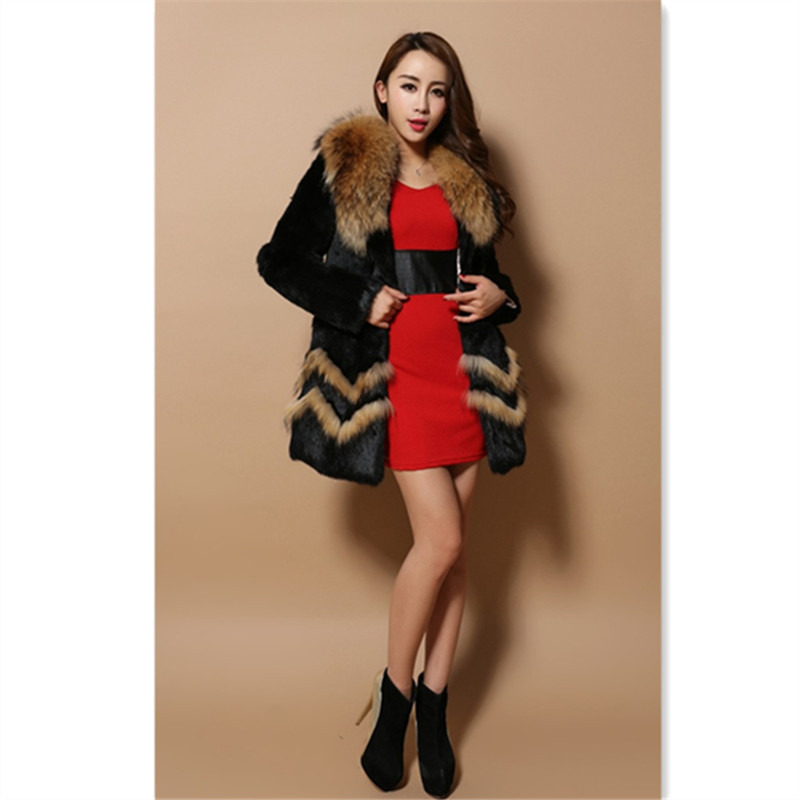 Low Price 2015 Real Rabbit Fur Long Coat for Female with Natural Rabbit Fur Trim Hood Fashion Women Fur Jacket Outwear(China (Mainland))