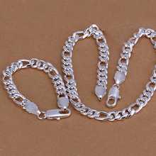 Factory price top quaility 925 sterling silver 10mm cute fine stud bracelet jewery sets free shipping SMTS097(China (Mainland))