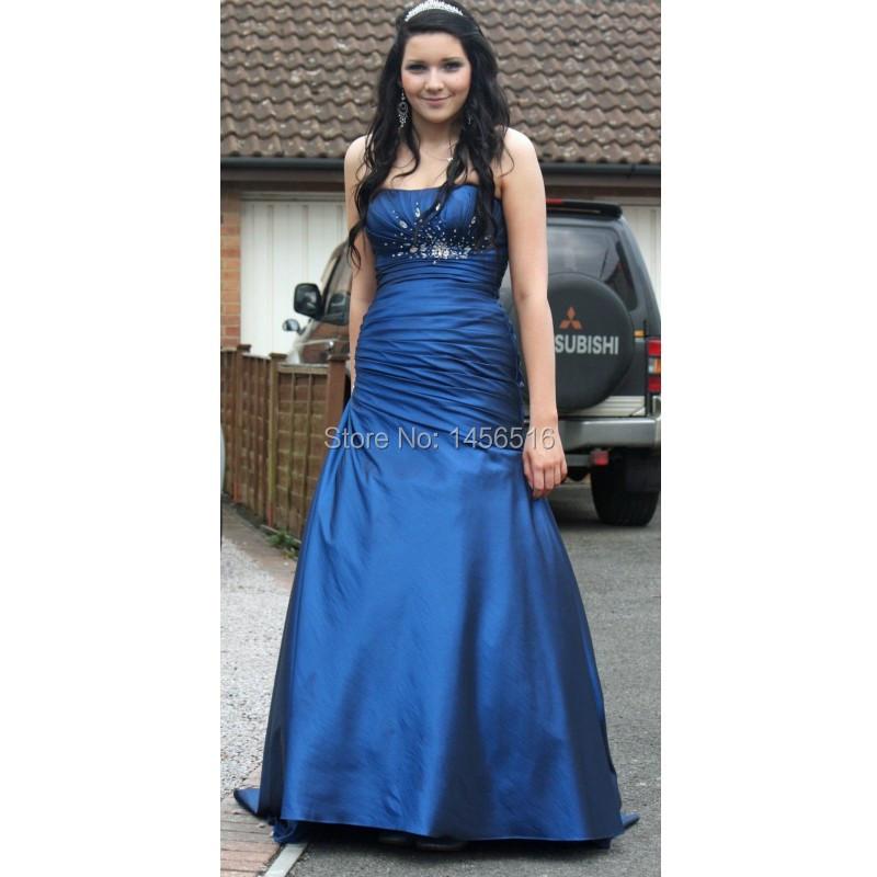 10228 W azul marino sirena vestidos fiesta 2016 vestidos largos de noche moldeado sin tirantes del partido del vestido de formatura longo en Vestidos de