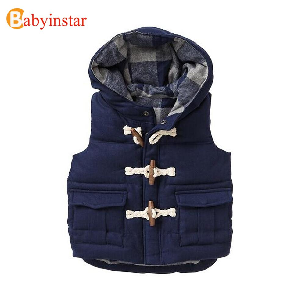 2016 Winter Boys Vest Kid Waistcoats Boy Child sleeveless Jacket Cotton Kid Clothe Boy Outwear Autumn Baby Vest Warm Hooded Coat(China (Mainland))