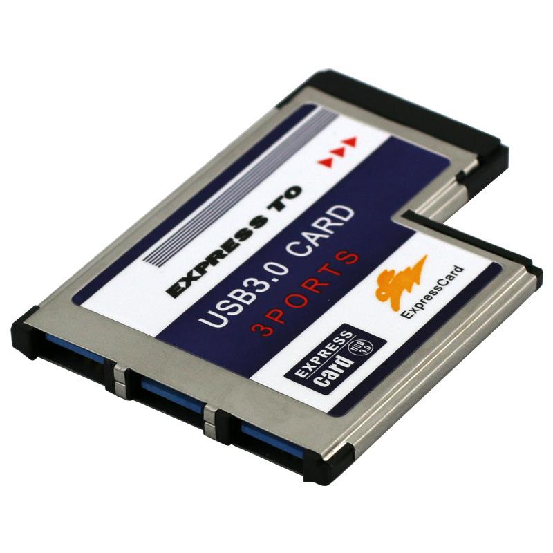 New 3 Ports Hidden Inside USB 3 0 HUB to Express Card 54mm Adapter Converter Card