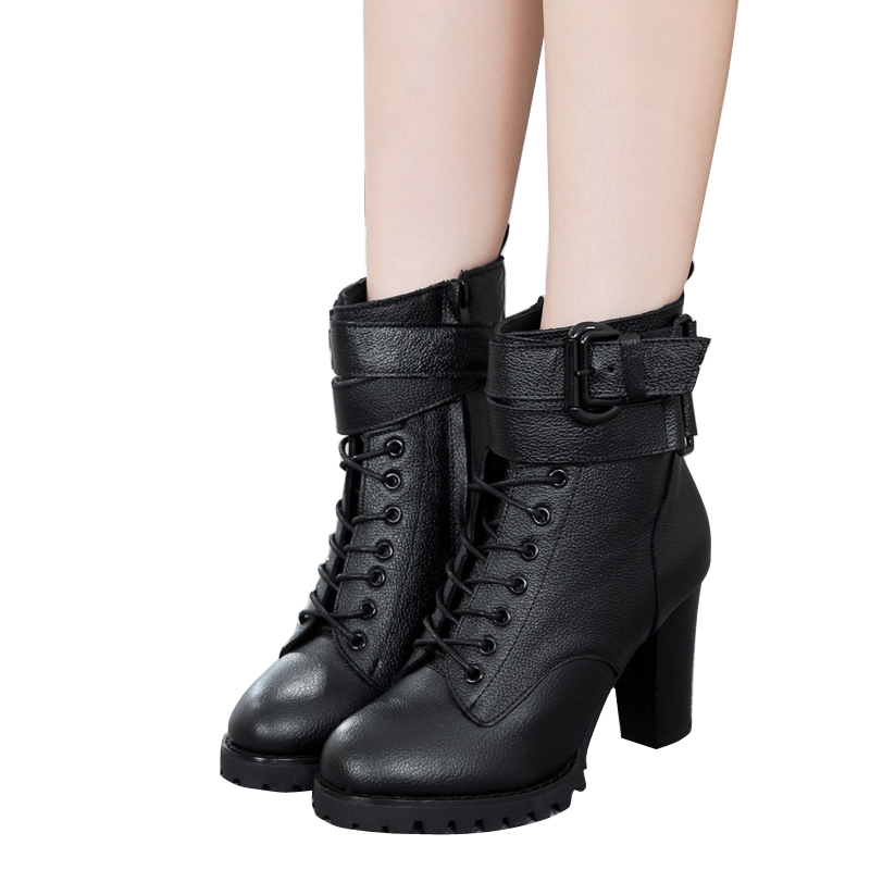 Fashion Women High Heel Boots PU Leather Double Zipper Ankle Boots Black Martin Boots British Style Women Shoes BT27