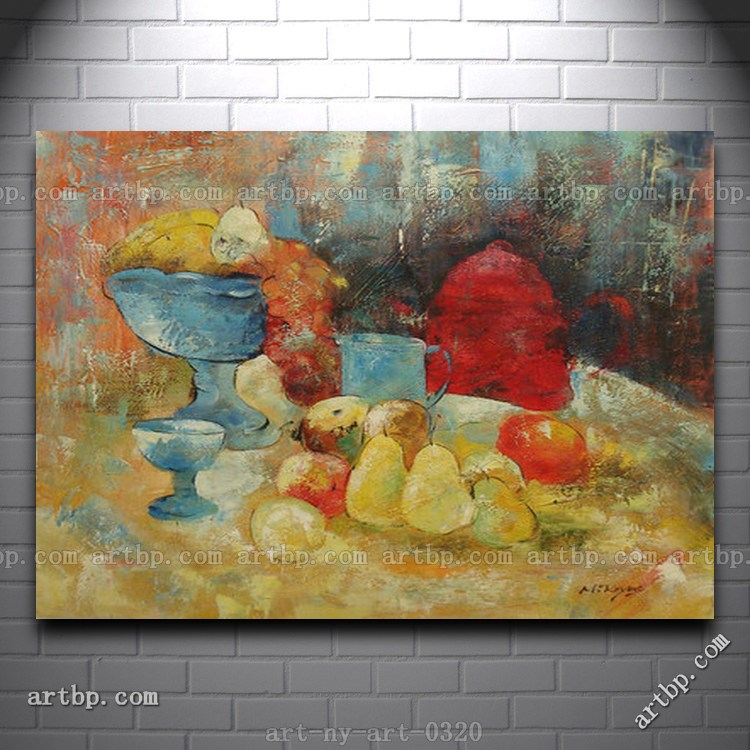 Purple Bowls Wine Bottels Modern Canvas Painting Wall Art: Contemporary Oil Painting Of Still Life Fruit In Bowl By