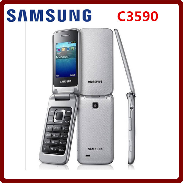 Samsung GT-C3590 (Unlocked ) Black, Big Buttons Stylish Flip Mobile Phone Refurbished phone High quality one year warranty(China (Mainland))