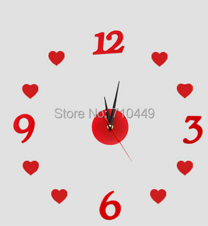 red heart numbers diy acrylic wall clock decoration quartz without battery - Alforever home store