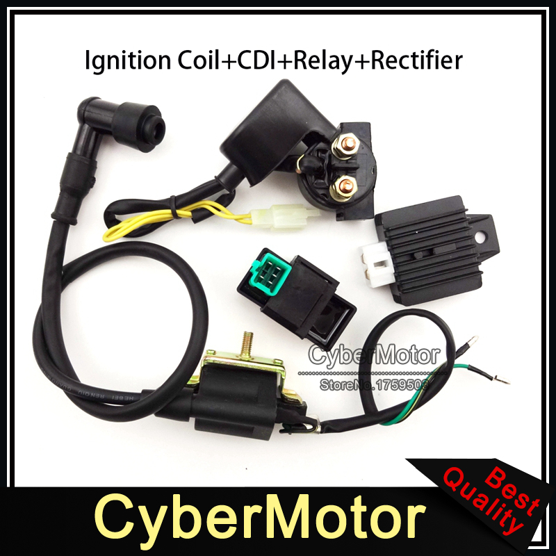 Ignition Coil AC CDI Box Regulator Rectifier Relay For 50cc 70cc 90cc 110cc Engine Lifan Loncin Taotao Roketa Chinese ATV Quad(China (Mainland))