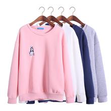 harajuku 2016 korean new autumn and winter sweatshirt women loose embroidery Shiba Inu puppies warm kawaii dog hoodies women(China (Mainland))