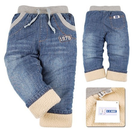 DKZ056, 2014 fashion children pants high quality thick winter warm cashmere boys jeans kids trousers size 2Y-6Y retail(China (Mainland))