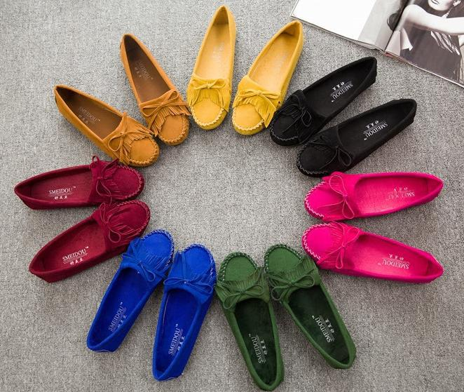 2015 new Women Shoes multicolor Bowknot tassel soft bottom flat low help shoes round head pregnant women shoes Size:35-40(China (Mainland))
