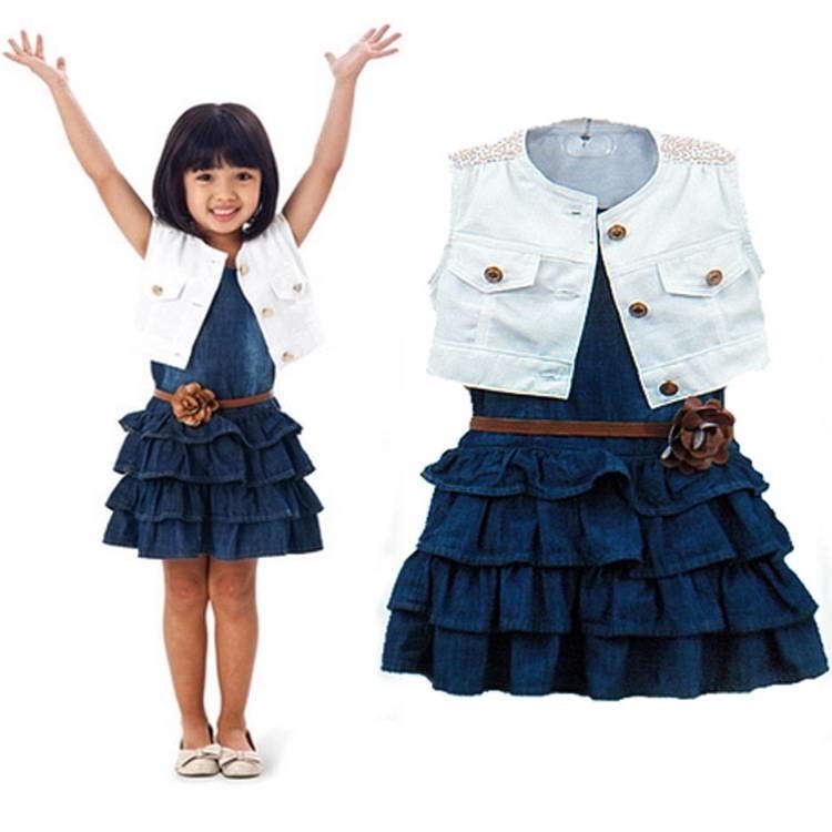2015 summer Retail kids girl`s two-piece Bull-puncher dress Children's white vest +Denim dress children clothing with SashesCG64(China (Mainland))