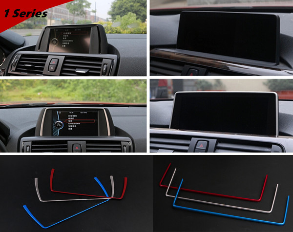 Car styling navigation frame trim strips stainless steel interior auto part decorative frame stickers for BMW f20 1,2,3,4 series(China (Mainland))