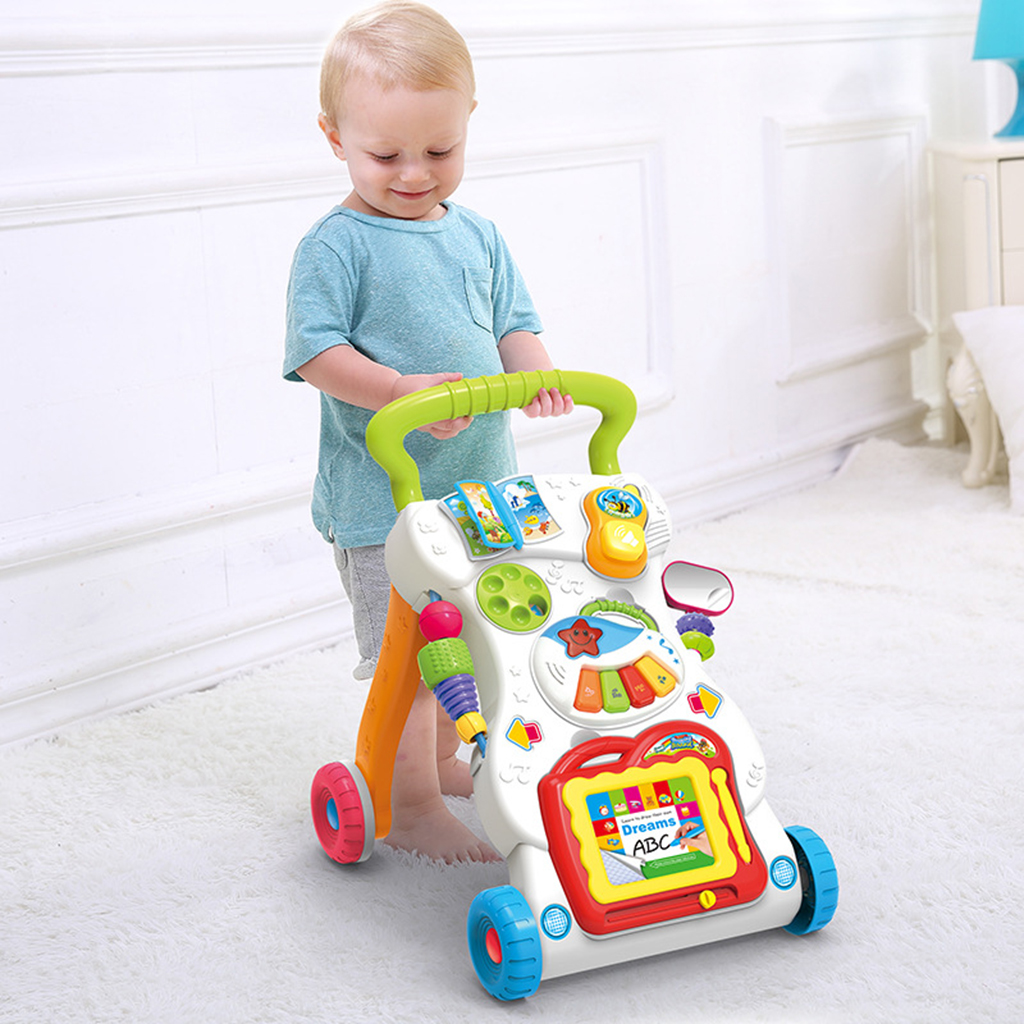 Kids Toddlers First Step Car Multi-Function Adjustable Baby Walker Early Developmental Toy Gift