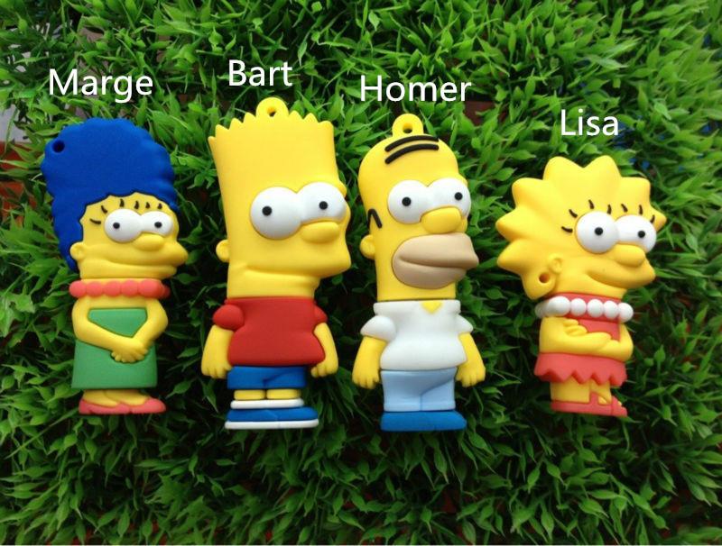 The Simpsons usb flash drive 64gb pendrive usb 2.0 flash memory storage usb stick u disk pen drive 32gb 16gb 8gb 4gb(China (Mainland))