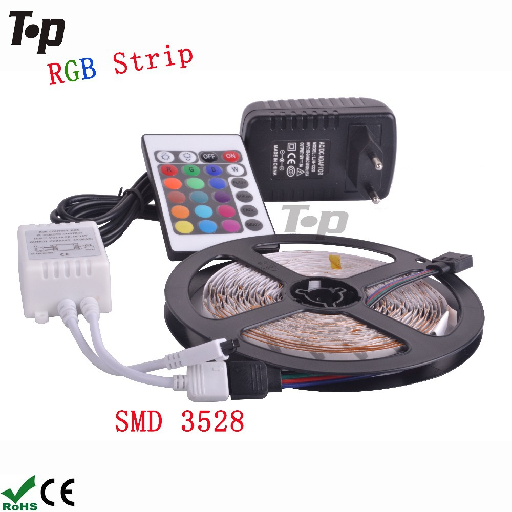 RGB LED strip light Non-waterproof SMD 3528 DC 12V flexible light 60LED/m 5m 300LED,Power Adatpter,Remote Controller;Receptor(China (Mainland))