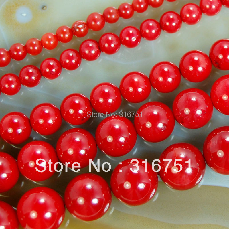 "Hot Sale 15.5"" Red Coral Round Beads 4mm 6mm 8mm 10mm Pick Size Free Shipping Aa-F00080(China (Mainland))"