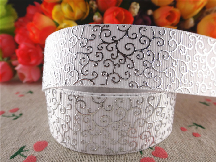 "New arrival 7/8"" (22mm) silver foil grosgrain ribbons white ribbon hair accessories 10 yards SD1161(China (Mainland))"