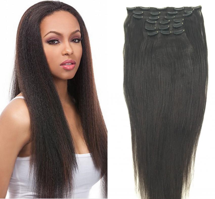 Peruvian Coarse Yaky Clip In Hair Extensions Yaki  Straight Clip On Hair Extension Long Hai Italian Yaki Weave<br><br>Aliexpress