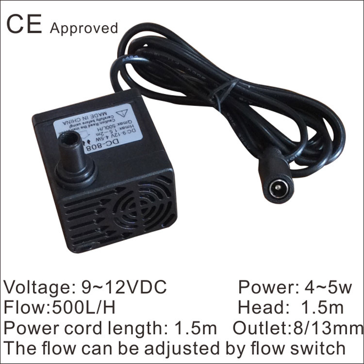 CE Approved Brushless submersible pump DC-808, 9~12 VDC use for household small appliances,solar pumps,circulate fish jar,(China (Mainland))