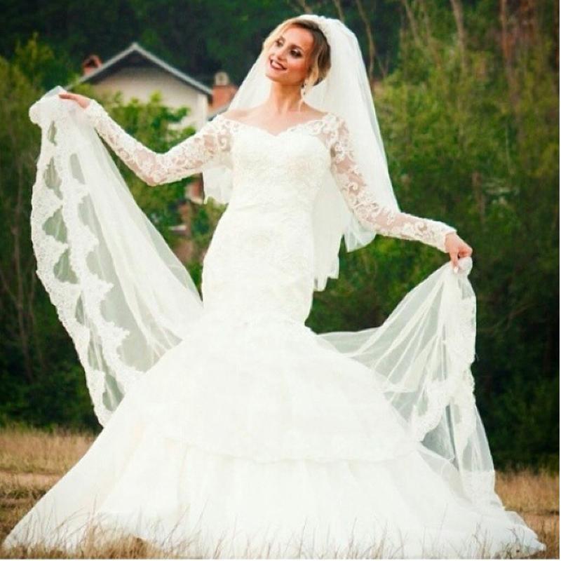 Wedding Dress Long Sleeve V Neck : Elegant bridal gowns design v neck appliqued lace