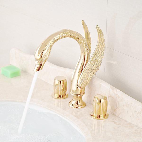 Купить Роскошный Золотой Латуни Ванной Кран Лебедь Носик Тщеславие Мойки Смесители