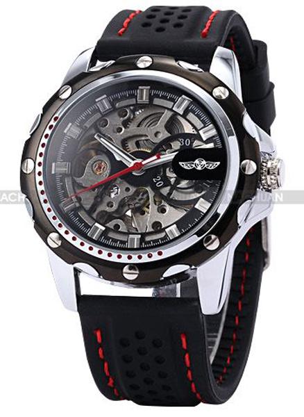 Mechanical hand wind watch 2015 4488 wholesale golden designer mens hand mechanical coffee strap watch