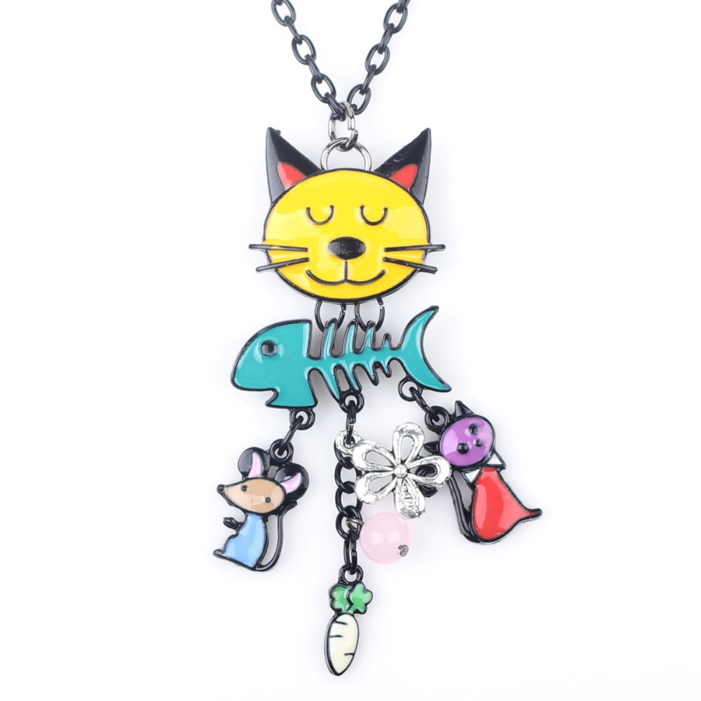 Bonsny Long Chain French Cat Enamel Necklace Pendant Fish Alloy Charm Famous Brand Jewelry For Women Girl 2015 New Cute Animal(China (Mainland))