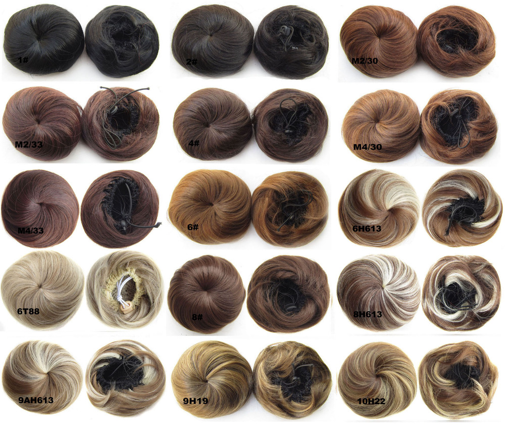 synthetic hair bun New style clip in on elastic net Chignon Ponytail Drawstring Hairpieces 34 colors available,35g,10pcs/lots