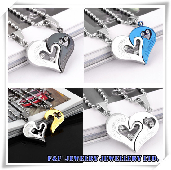 & Couple Gift MEN WOMEN Lover Necklace Love Heart Shape Pendant Stainless Steel,, - FUNFUN store