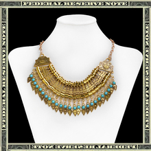 2015 Fashion choker Bohemian Statement necklace pendants Vintage Coin gypsy Ethnic Silver Maxi Necklace Women fine Jewelry