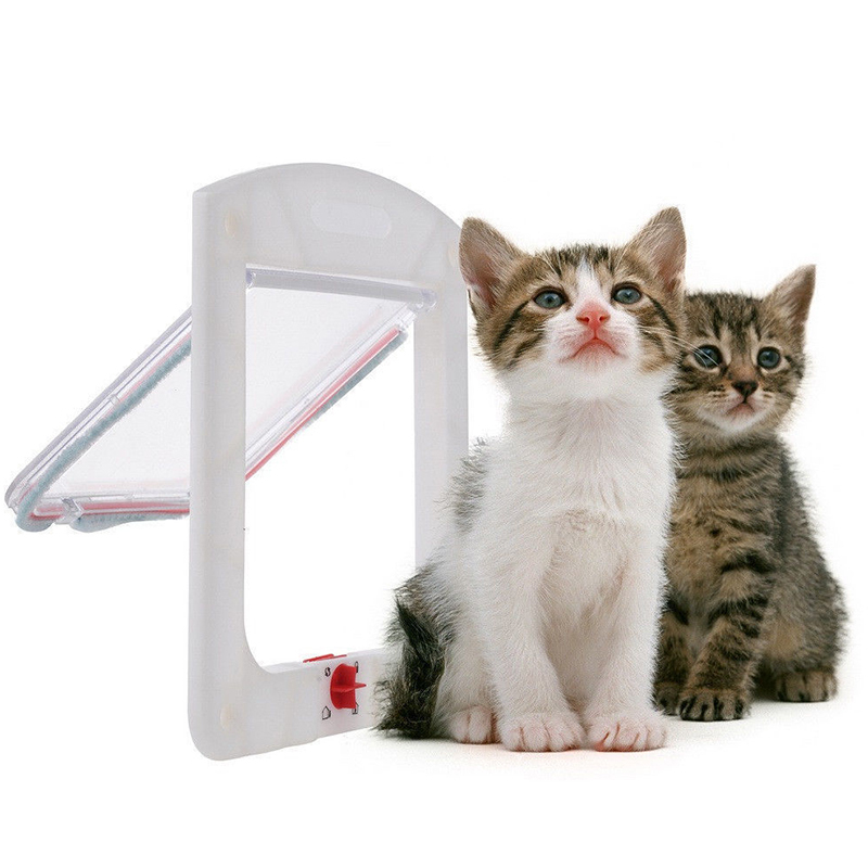 2015 new Safe Pet Cat Small Dog 4-Way Locking Lockable Door Flap Catflap G01073(China (Mainland))