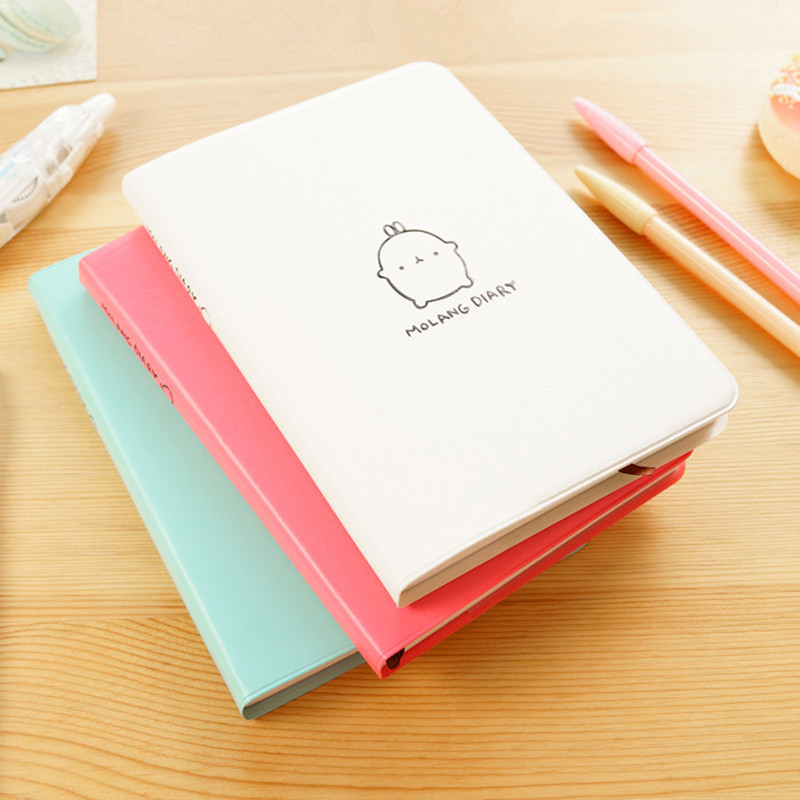 2017-2018 New Molang Rabbit Diary Creative Leather Anime Notebook a5 School Cute Kawaii Korean Dairy Planner Journal Stationery(China (Mainland))