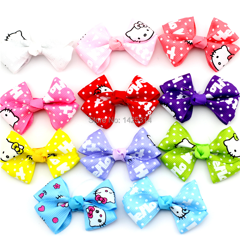 Hello Kitty Baby Ribbon Bow With Clip Bebe Hair accessories Hair clip for Children Girls Bow clips Hairpins Kids headwear 24pcs(China (Mainland))
