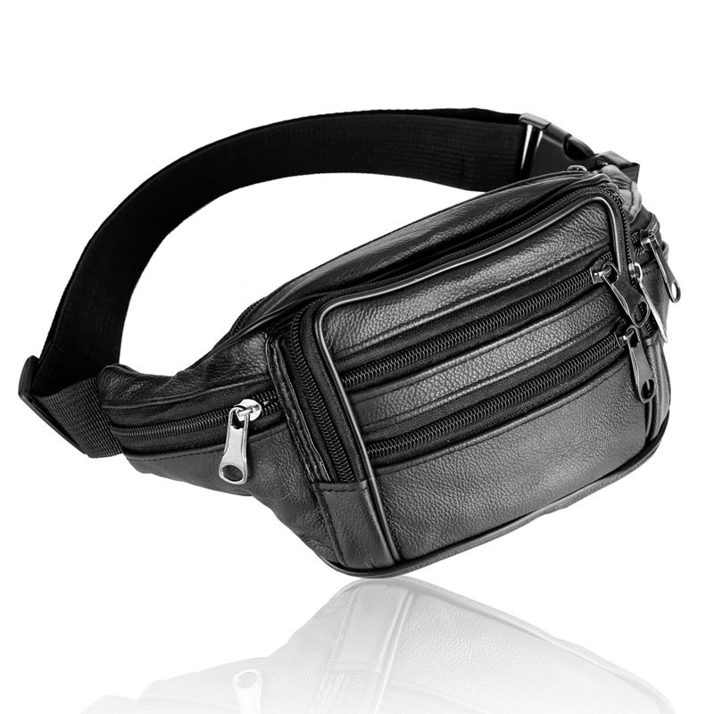 Free Shipping New Man 100 Cowhide Waist Pack Sport Running Bag Fanny Pack Hiking Climbing Outdoor