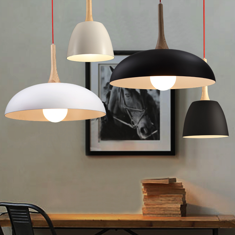 Northern Europe Style Wooden Pendant Light Black and White Modern Fashion Simple Pendant Lamp for Dining Room Living Room<br><br>Aliexpress