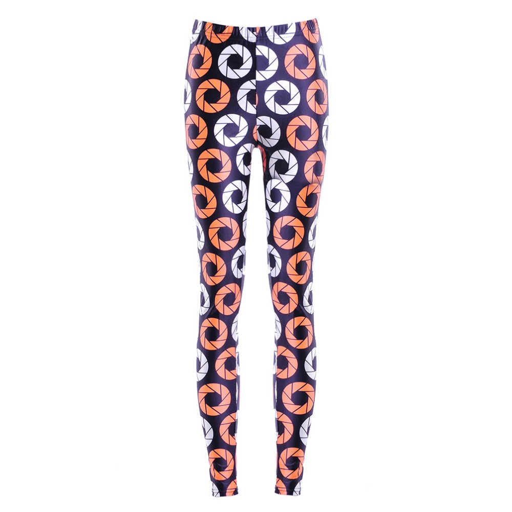 Plus size S-4XL 2016 new Sexy Women Leggings orange & white circle digital printing Leggings pencil pants sports(China (Mainland))