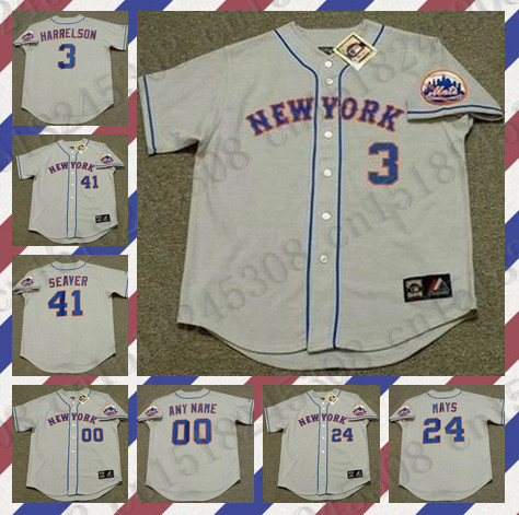 Retro Custom WILLIE MAYS TOM SEAVER Baseball jersey DARLING HERNANDEZ jersey gray Mens Stitched jerseys